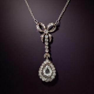 Antique Pear Shape Diamond Lavalière Necklace - 0
