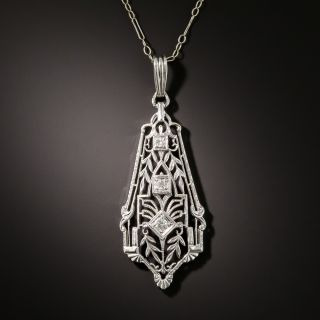 Art Deco Filigree Diamond Pendant Necklace - 1