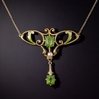 Art Nouveau Enamel, Peridot and Seed Pearl Necklace - 0