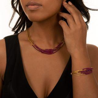 24K Ruby Bead Spaghetti Necklace and Bracelet by ARA