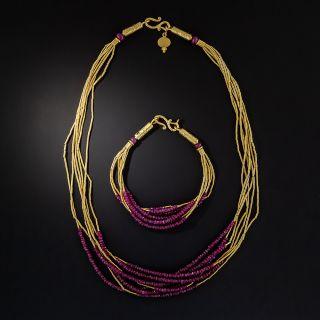 24K Ruby Bead Spaghetti Necklace and Bracelet by ARA  - 0