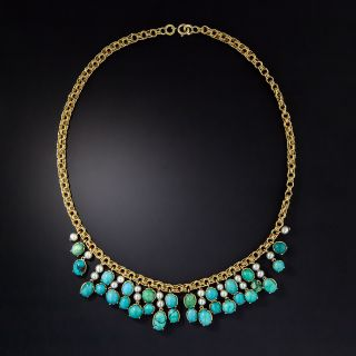 Vintage Turquoise and Pearl Necklace - 0
