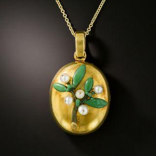 Victorian Oval Mistletoe Locket - 1