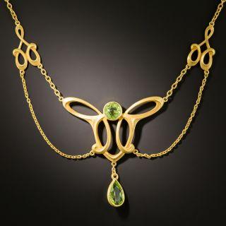 Art Nouveau Peridot Swag Necklace - 1