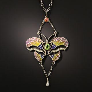 Art Nouveau Plique-a-Jour Pearl Butterfly Pendant Necklace - 1