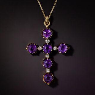 Victorian Amethyst and Diamond Cross - 0