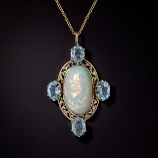 Victorian Opal and Aquamarine Necklace - 0
