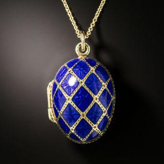 Cobalt Blue Enamel Egg Pill Box Pendant - 1