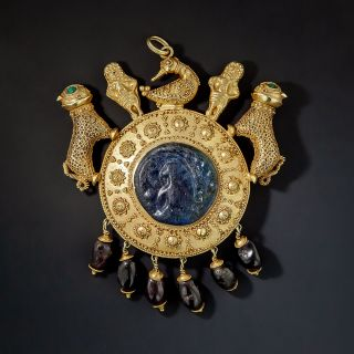 Helenistic Style Necklace with Ancient Glass and Garnets