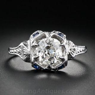 .90 Carat Antique Cushion-Cut  Diamond and Sapphire Ring