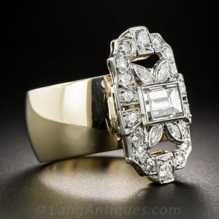 .90 Carat Baguette Center Art Deco Diamond Dinner Ring