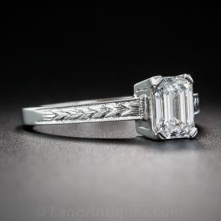 .90 Carat Emerald-Cut Diamond Platinum Solitaire Engagement Ring - GIA D SI1