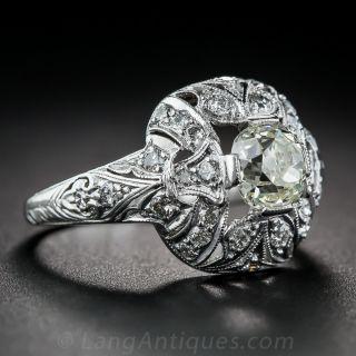 .90 Carat Platinum and Diamond Art Deco Engagement Ring