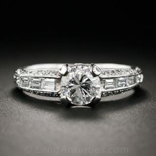 .90 Carat Platinum and Diamond Engagement Ring