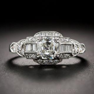 .92 Carat Platinum and Diamond Late Art Deco Engagement Ring