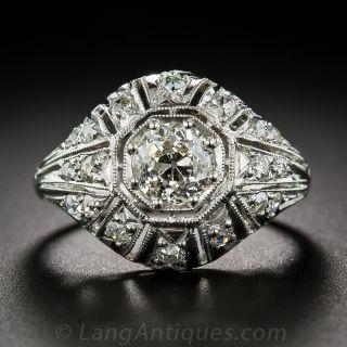 .93 Carat Diamond and Platinum Art Deco Style Engagement Ring