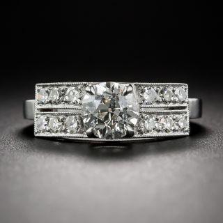 .96 Carat Diamond and Platinum Art Deco Style Engagement Ring
