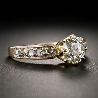 .99 Carat Old Mine-Cut Diamond Antique Engagement Ring