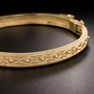 9K English Victorian Etruscan Revival Bangle Bracelet