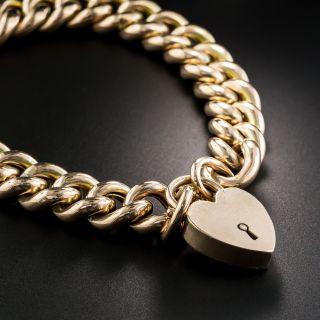 9K Rose Gold English Curb Link Gate Bracelet - 1