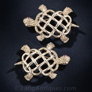 A Pair of Mid Century Woven Turtle Brooches