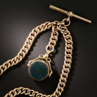 Albert Watch Chain Necklace With Bloodstone Fob, Circa 1909 - 2