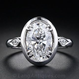 Almost Perfect 2.27 Carat 'D' Color Oval Diamond Solitaire