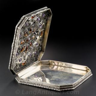Amethyst and Citrine Silver Engraved box