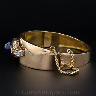 Amethyst and Diamond Tapered Hinged Bangle Bracelet