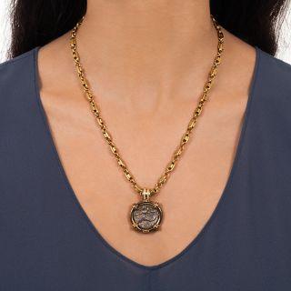 Ancient Dolphin Rider of Taras Coin 18K Diamond Necklace