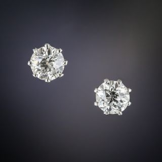 Antique 1.00 Carat Diamond Stud Earrings  - 1