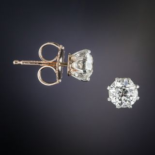 Antique 1.00 Carat Diamond Stud Earrings
