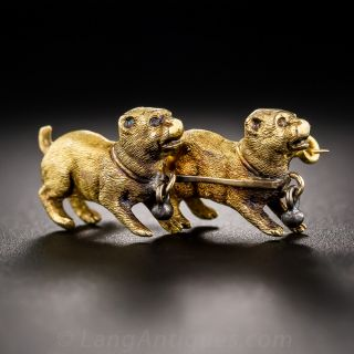 Antique 18k Gold Double Dog Pin - 1