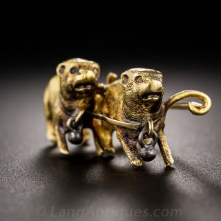 Antique 18k Gold Double Dog Pin