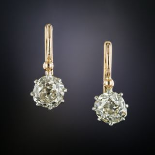 Antique 2.35 Carat Diamond Drop Earrings - 2