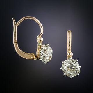 Antique 2.35 Carat Diamond Drop Earrings