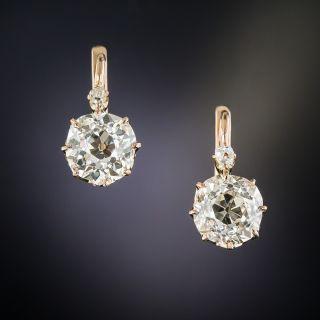 Antique 3.30 Carats Diamond Drop Earrings - 2