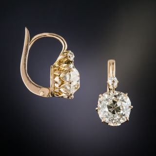 Antique 3.30 Carat Diamond Drop Earrings