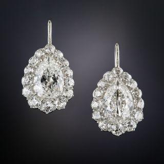 Antique 3.00 Carat Pear Shape Diamond Halo Earrings - 5