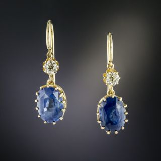 Antique 5.40 Carat Ceylon Sapphire and Diamond Drop Earrings - 2