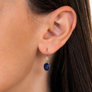 Antique 5.40 Carat Ceylon Sapphire and Diamond Drop Earrings