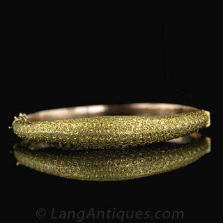 Antique 9 Karat Gold Bangle Bracelet Main View 1