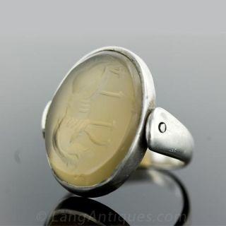 Antique Agate Intaglio Seal Ring