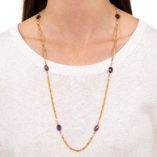 Antique Amethyst and Pearl Chain Necklace, Circa 1900