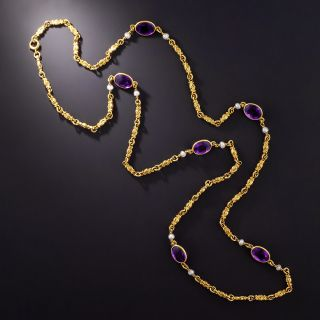 Antique Amethyst and Pearl Chain Necklace, Circa 1900 - 1