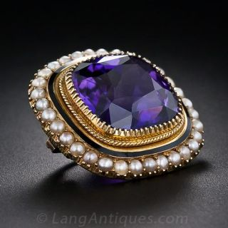 Antique Amethyst and Seed Pearl Brooch