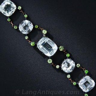 Antique Aquamarine and Demantoid Garnet Bracelet - 5