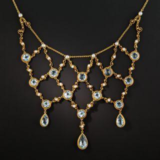 Antique Aquamarine and Pearl Bib Necklace - 3