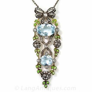 Antique Aquamarine, Demantoid and Diamond Pendant Necklace