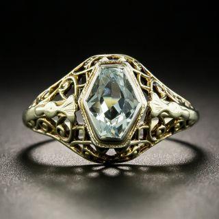 Antique Aquamarine Filigree Ring - 2